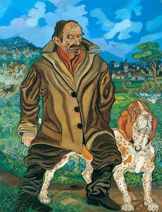 Autoritratto con cane, 1957 olio su faesite, 168x130 Firma in basso al centro Collezione privata, Brescia