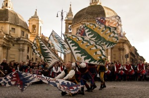 Carnevale romano, Sbandieratori, Photo by Veronica Guerra