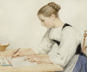 Albert Anker, Una ragazza scrive una lettera, 1903 (Free Domain)