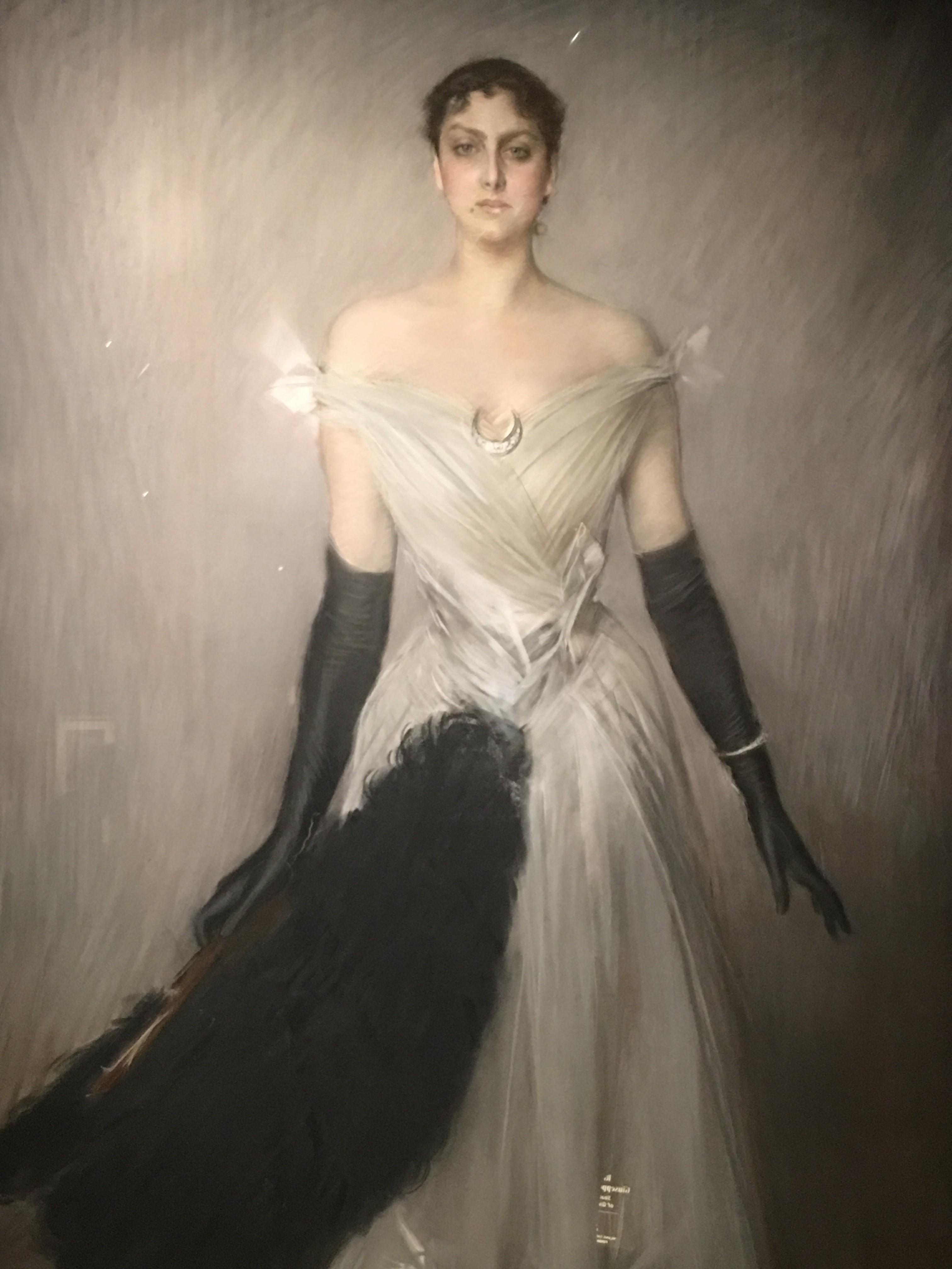 Giovanni Boldini, ritratto di signora in bianco, 1889