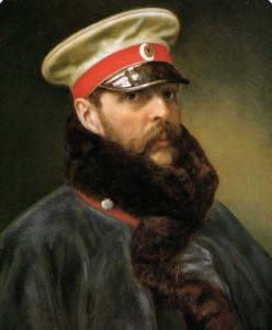 Alessandro II con la divisa delle Guardie imperiali a Cavallo