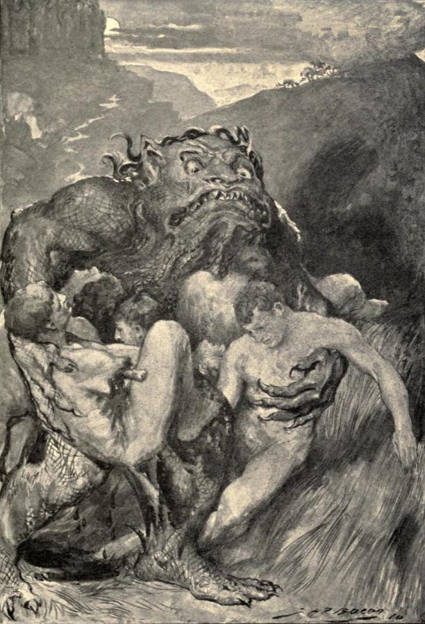 """""""In seguito ogni uomo sfuggiva al nemico tenendosene distante, al sicuro"""", John Henry Frederick Bacon, Hero-myths & legends of the British race, 1910"""