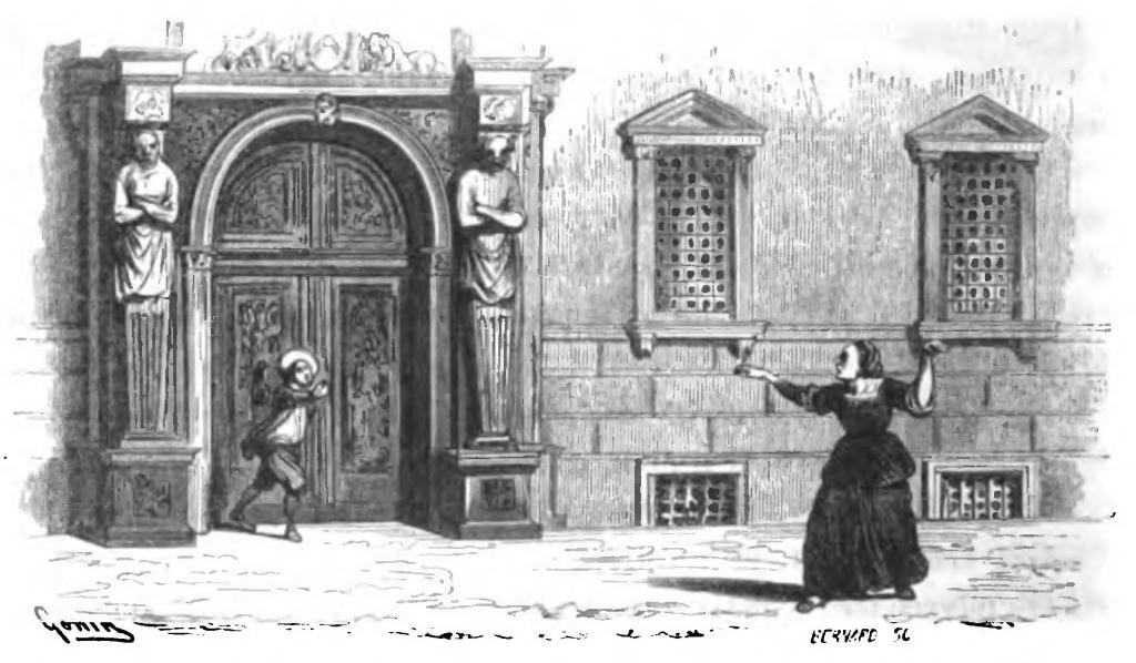 """""""pigliatelo, pigliatelo; che dev'essere uno di que' birboni che vanno in giro a unger le porte de' galantuomini."""" (I promessi sposi, Alessandro Manzoni, Capitolo XXXIV, Illustrazione di Francesco Gonin)"""