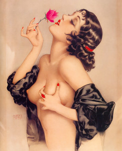 """topless portrait of Olive Thomas (""""Memories of Olive""""), painted by Alberto Vargas in 1920 for Florenz Ziegfeld."""