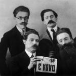 André Breton, René Hilsum, Louis Aragon and Paul Éluard, for the release of the DADA N°3 review 1919 ©Rue des archives/PVDE