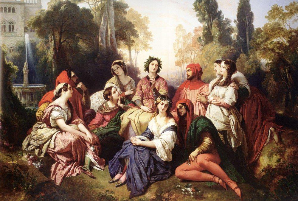 """""""Era con sì fatto spavento questa tribulazione entrata ne' petti degli uomini e delle donne, che l'un fratello l'altro abbandonava"""" (The Decameron, Franz Xaver Winterhalter, 1837)"""