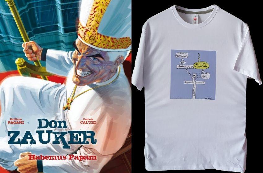 Le stripes Don Zauker di Caluri e Pagani e la vignetta di Mario Natangelo per l'esclusiva t-shirt